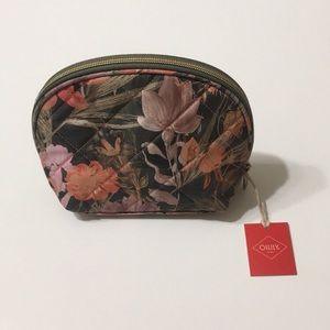 NWT Oilily Fig Green w/ Floral Pattern Makeup Bag